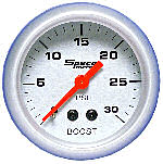 524-05 boost gauge (no vac). Silver dial, silver bezel. 30–0–30 psi.