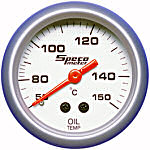 524-15 oil temperature gauge. Silver dial, silver bezel. Mechanical 50–150 deg C.