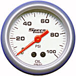524-16 oil pressure gauge. Silver dial, silver bezel. Mechanical 100 psi.