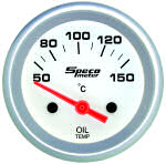 524-21 oil temperature gauge. Silver dial, silver bezel. Electric 50–100 deg C.