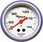 524-23 water temperature gauge. Silver dial, silver bezel. Mechanical 40–120 deg C.