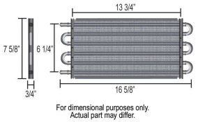 Derale Thin Line Copper Core Oil Cooler Kit Dimensions
